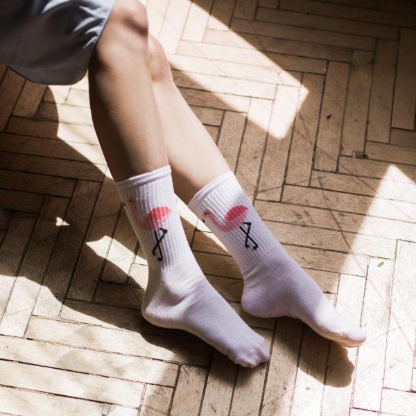 Білі шкарпетки Фламінго