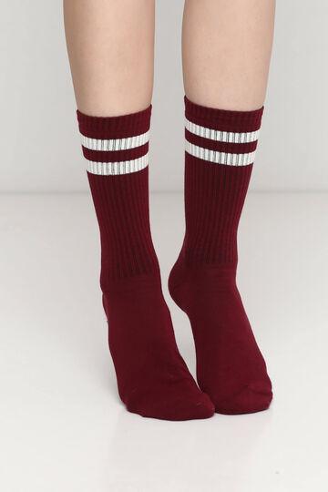 Бордові шкарпетки з бежевими смужками