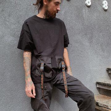 Чорна футболка з кишенями Texno 3 Tct
