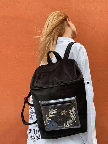 Чорний оксамитовий рюкзак з прозорою кишенею