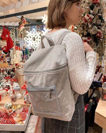 Бежевий плюшевий рюкзак з прозорою кишенею
