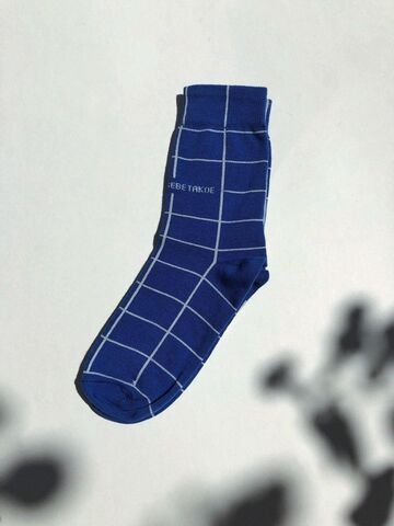 Сині шкарпетки в клітинку