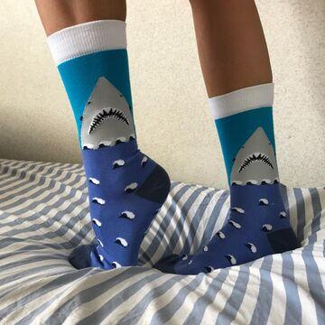 Сині шкарпетки з акулою