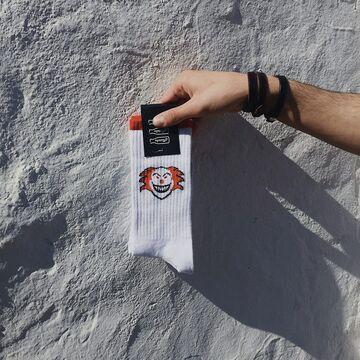 Білі шкарпетки з клоунами