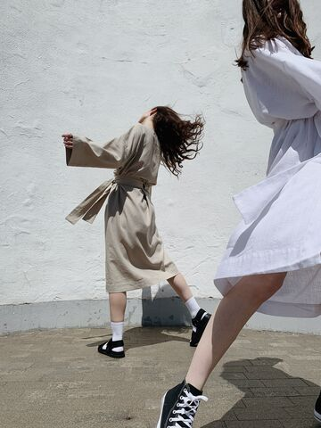 Білий халат-кімоно з поясом