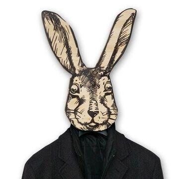 Бежево-чорна вішалка-гачок Кролик