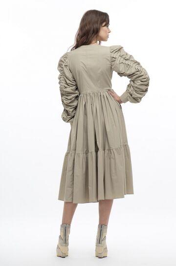 Світло-оливкова сукня з декольте та драпірованими рукавами