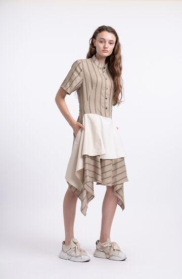 Пісочна лляна сукня з воланом