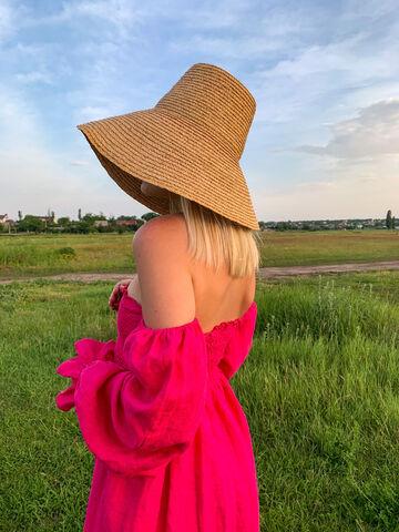 Рожева лляна сукня