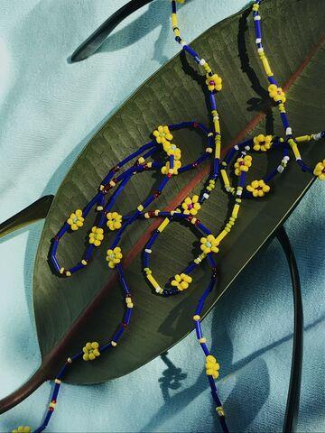 Жовтий ланцюжок для окулярів з бісеру