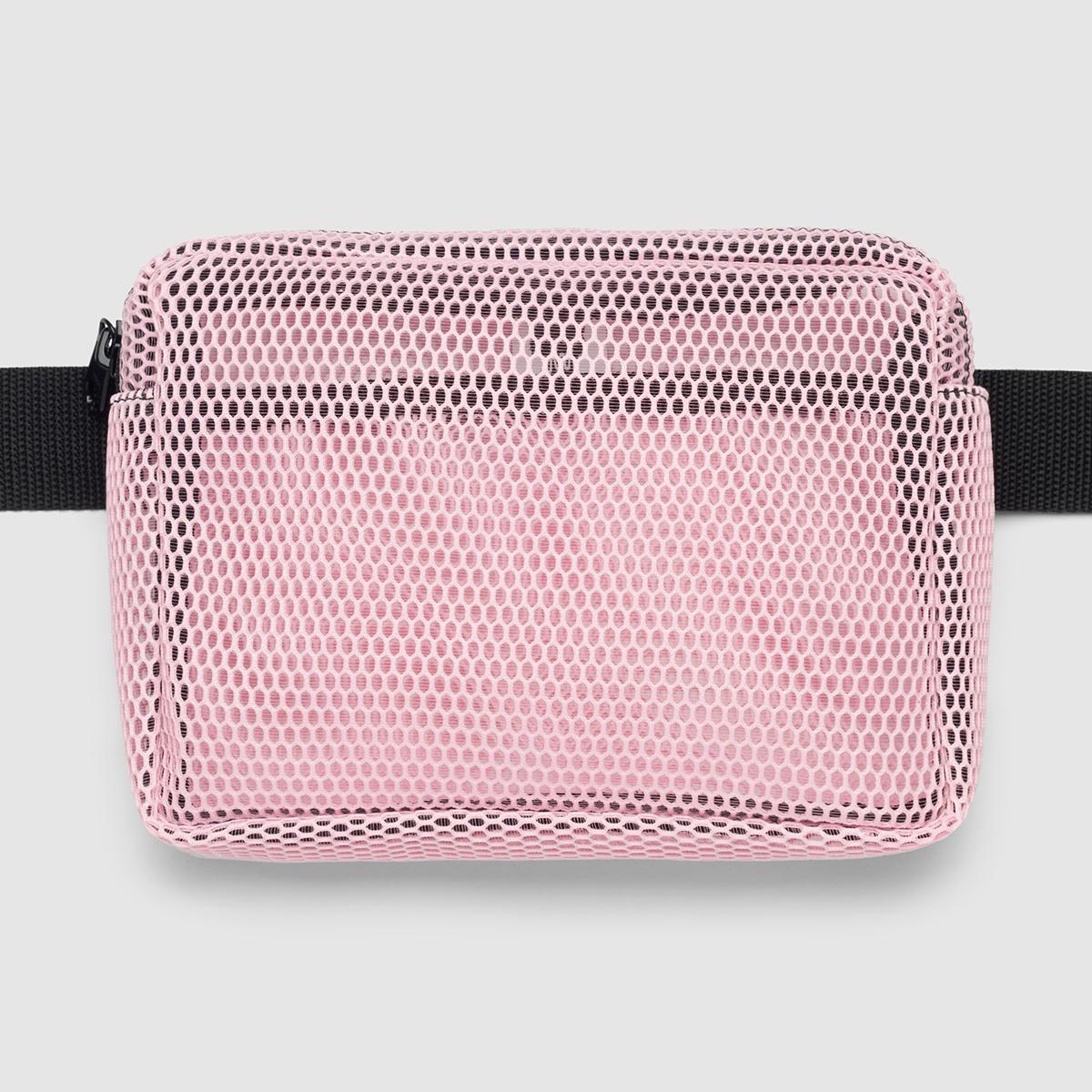 Поясна сумка з рожевої сітки