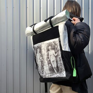 Білий рюкзак Флетайрон х Dima Fatum