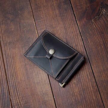 Коричневий гаманець з зажимом для грошей
