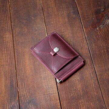 Бордовий гаманець з зажимом для грошей