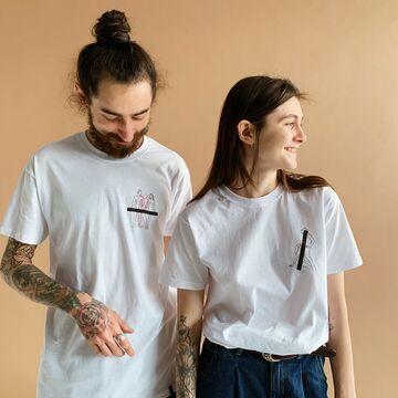 Біла унісекс футболка Don't Be Shy