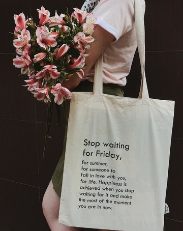 Бежевий шопер Stop Waiting